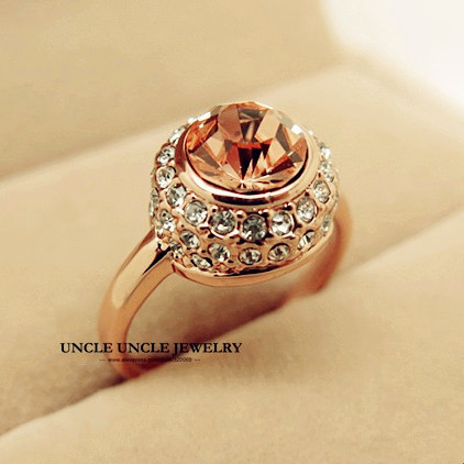 Rose Gold Color Moon River Style Champagne Crystal Round Setting Lady Finger Ring Wholesale