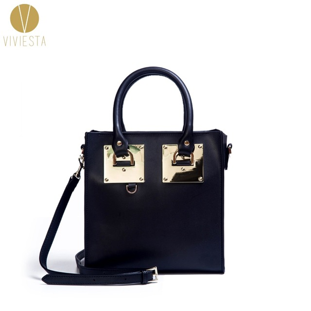 a7796f88869 GENUINE LEATHER METAL PLATE MEDIUM STRUCTURED TOTE BAG - Women s 2018  Fashion Famous Brand Shopper Shoulder