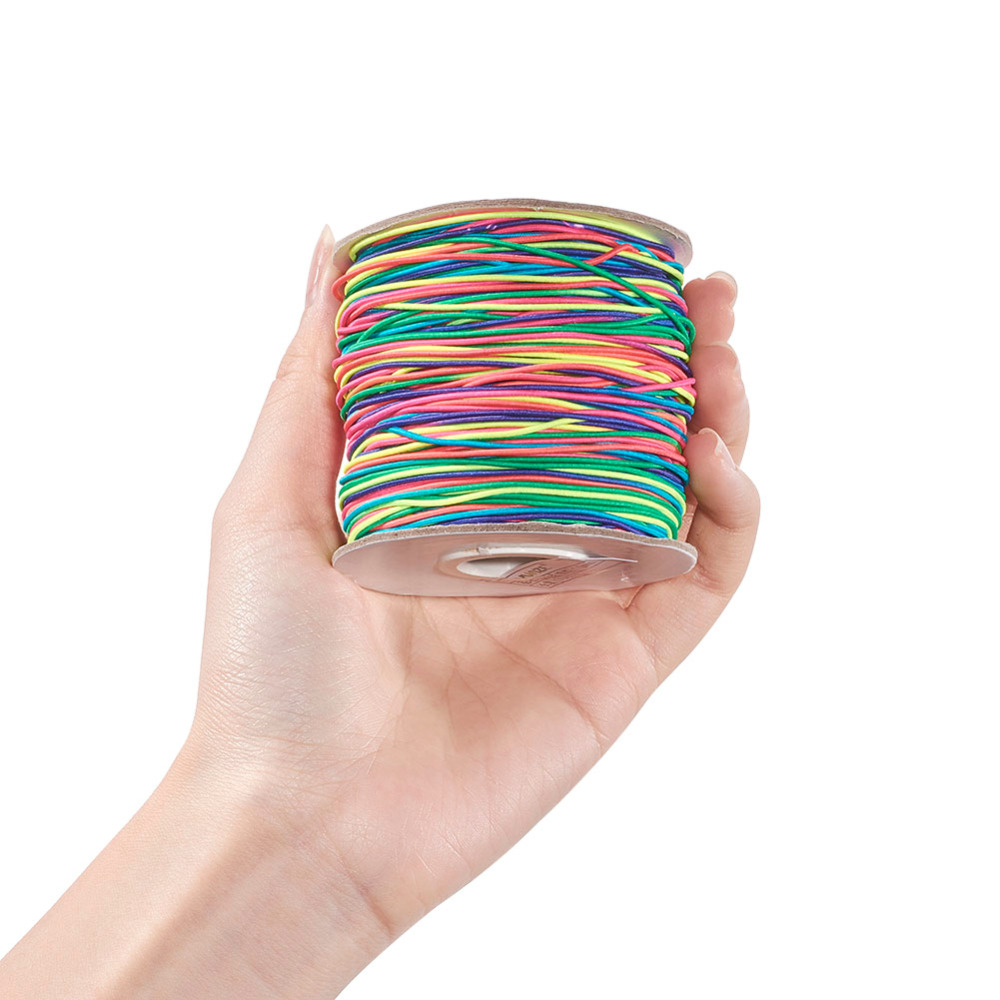 100m/roll 1mm 2mm Colorful Round Elastic Fibre Thread Cord With Nylon Outside And Rubber Inside For DIY Jewelry Making F83