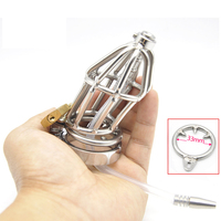 Anti off metal penis cage with urethral catheter penis plugs stainless steel chastity device cb6000s bird lock bondage cock cage