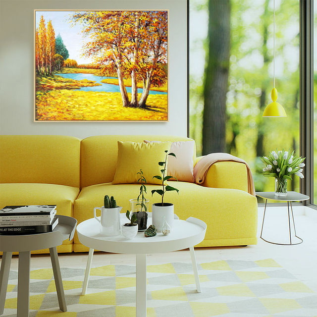 Artist sales hand painted oil painting golden season harvest season ...