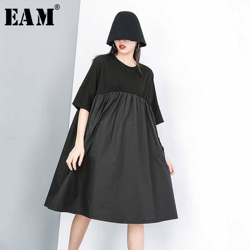 [EAM] 2020 New Spring Summer Round Neck Short Sleeve Black Pleated Split Joint Loose Big Size Dress Women Fashion Tide JT602