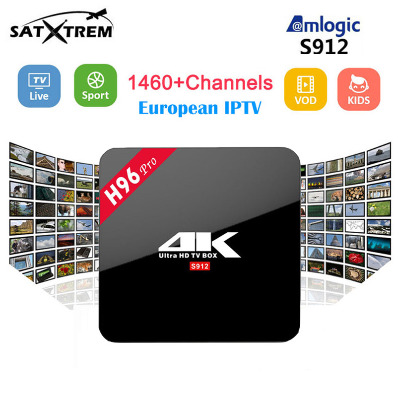 H96 PRO+1 Year Arabic IPTV French IPTV Amlogic S912 Quad Core Android 7.1 TV Box 3G/16G Wifi 4K Smart TV Box h96 pro fast ship iptv evpad pro