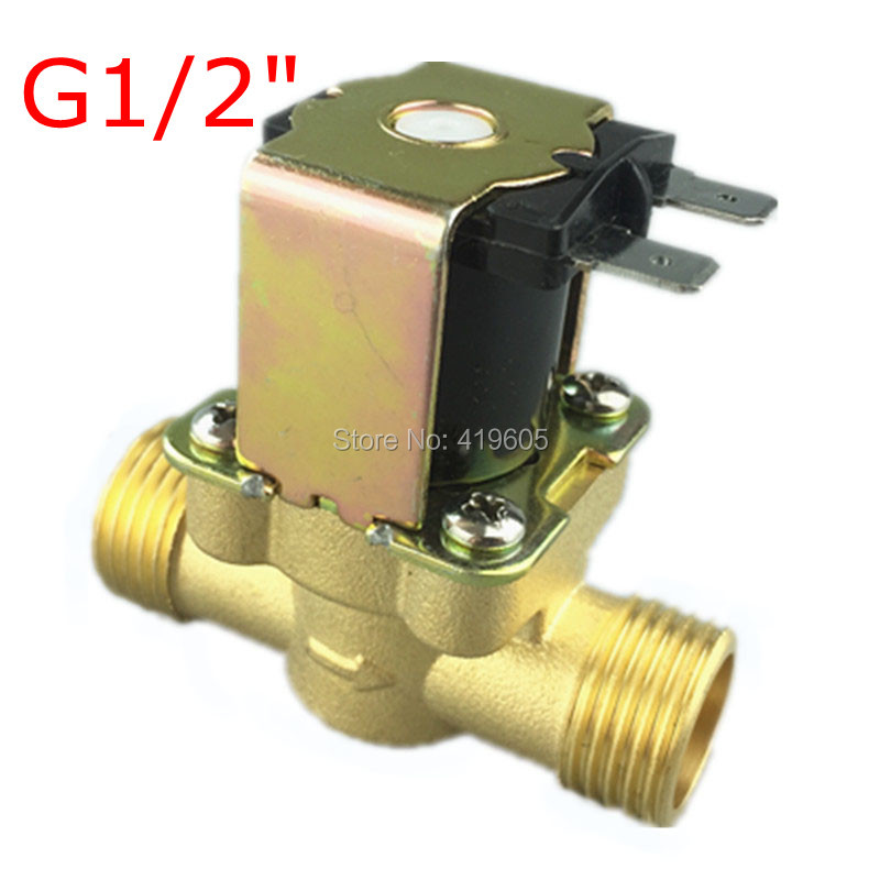 Free Shipping 12Vdc Electronic Solenoid Valve 1/2 normally closed Copper body water valve have filter 12Vdc 220Vac