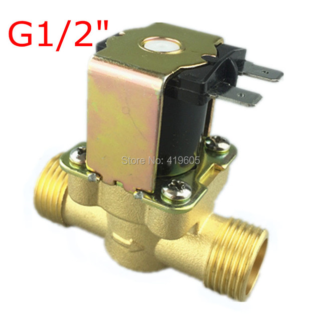 """Free Shipping 12Vdc Electronic Solenoid Valve 1/2"""" normally closed Copper body water valve have filter 12Vdc 220Vac"""