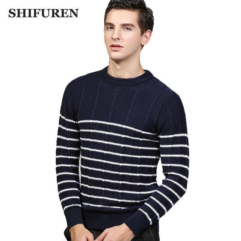 SHIFUREN Winter Causal Sweater Men Pullovers O-Neck Knitting Fashion Designer Male Knitwear Jersey Long Sleeve Jumpers Sweaters