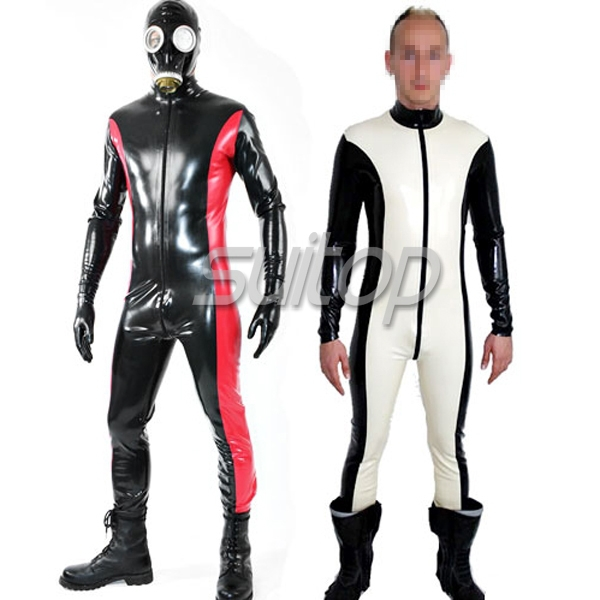 Suitop 0 6mm catsuit latex with front 3 way zip for font b men b font