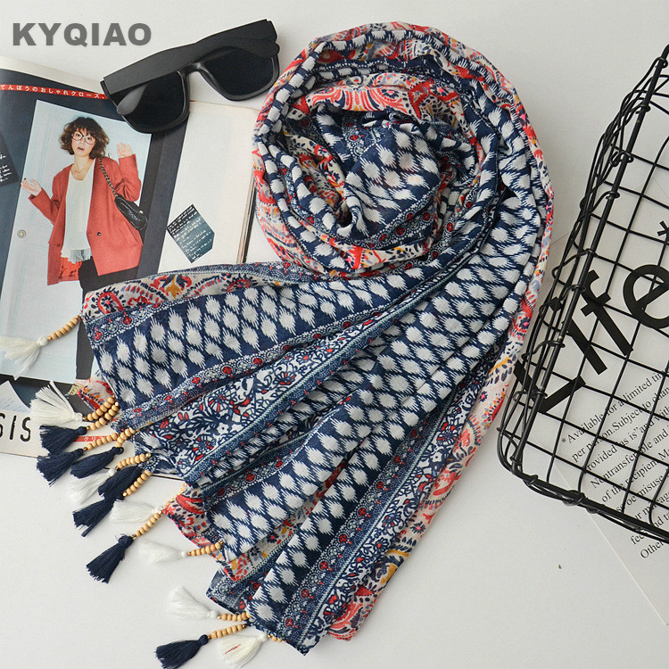 e5bd828bc45 Ethnic Scarf For Women Autumn Spring Mexico Style Hippie Vintage Long Print  Beading Beading Tassels Scarves Cape Shawl Muffler Ruffle Scarf Blue Scarf  ...
