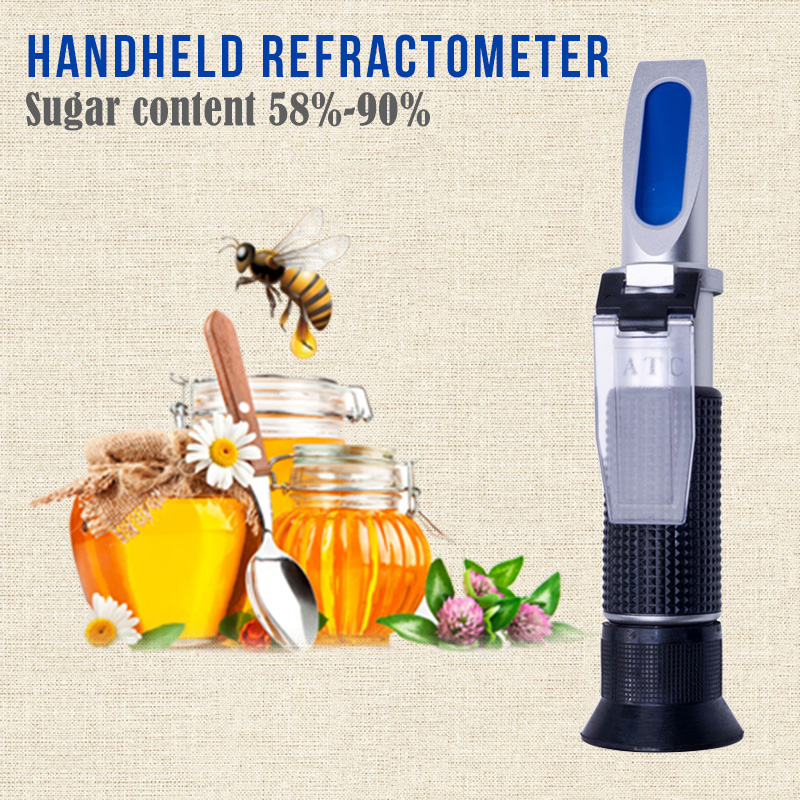 Handheld Refractometer Honey Refractometer Fruit Sugar Concentration sugar refractometer Meter Tool 58-90% Refractometer tri scale measurement portable honey refractometer beekeeping tester bees 58 90% brix 38 43 be baume 12 27% water range