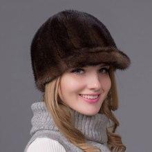 Invierno genuino Piel de visón sombrero en ropa de las mujeres de piel de  cabeza caliente de moda sombreros gorros y sombreros R.. d96ba8dcccb2