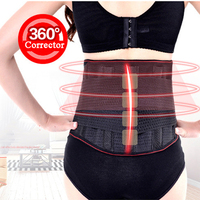 Adjustable Tourmaline Lower Back Waist Support Brace Self-heating Magnetic Therapy Double Banded Waist Belt Lumbar Support