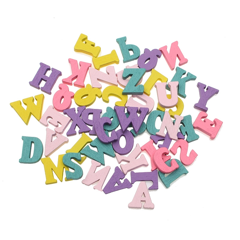 100pcs 15x10mm Colorful Wooden Letter Flatback Cabochon Decoration Handicraft For Scrapbooking Cardmaking Cute Diy Accessories