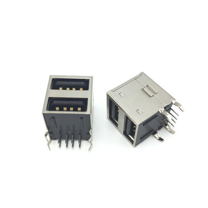 2PCS Dual USB Type-A Female 8 Pin Socket Connector Double All Inclusive cltgxdd us 163 new double usb 3 0 connector usb socket two layer usb3 0 female jack af type page 8