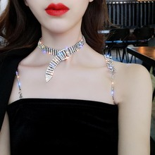 Luxury Crystal Chokers Necklace for Women Multi-layer Iced Crystal Belt Collar Chocker Wedding Party Statement Necklace Bijoux недорого