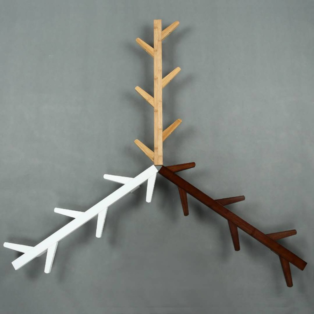 Galhos de árvores, cabides de parede, varanda, decoração, roupas rack, decoração da parede. C - 4