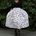 Yuppies Moda 1950 s Estilo Cereja Impressão Saia de Cintura Alta Plissada Mulheres Saias Midi Saia Plus Size faldas saia Do Vintage jupe