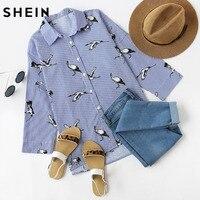 SheIn Shirt Women Tops Summer Casual Blue Striped Crane Print Drop Shoulder Three Quarter Length Sleeve