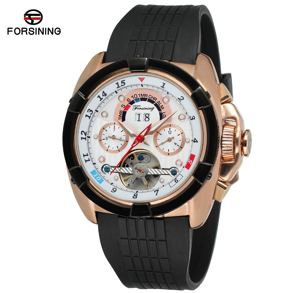Forsining Men's Watch New Design Automatic Calendar Rubber Strap  High End Trendy Tourbillion Wristwatch Color White FSG291M3-in Mechanical Watches from Watches    3