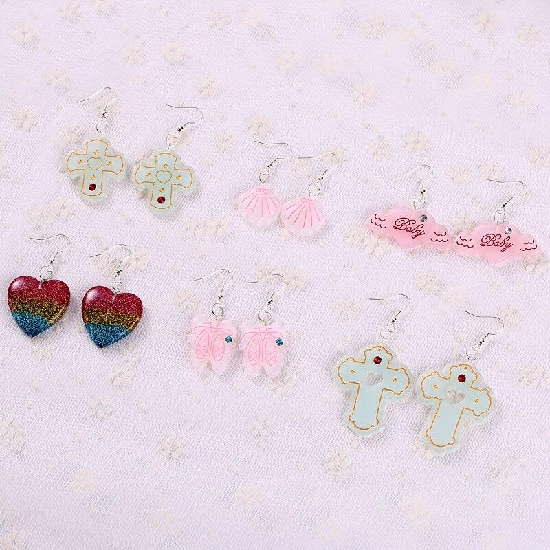 1 Paar Mode Handwerk Harz Herz Kreuz Ohrringe Für Frauen Japan/korean Modeschmuck Großhandel