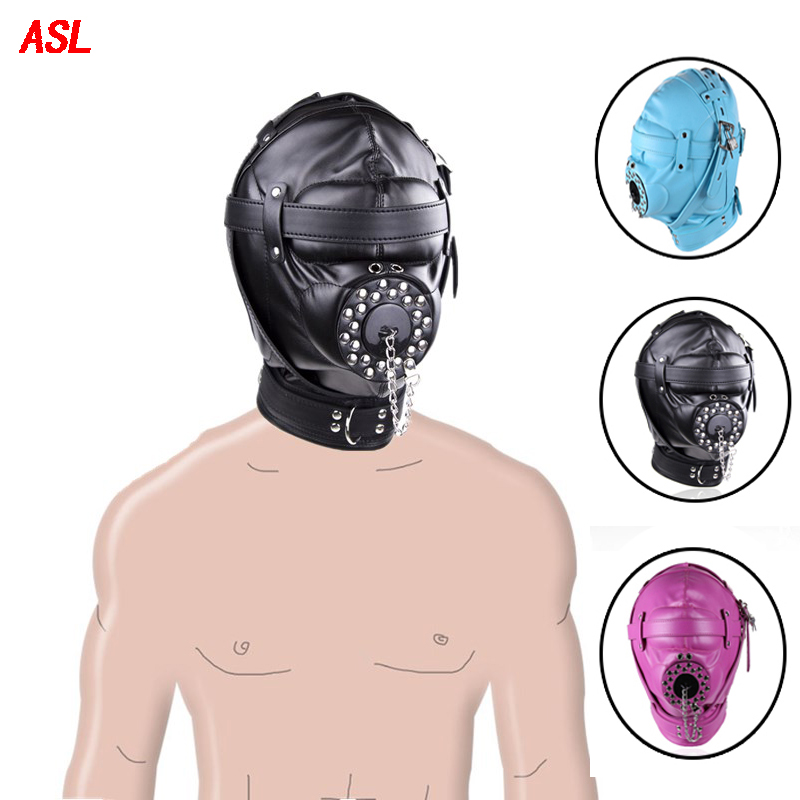 Mouth open Gag Blinder Leather Head Harness Mask Restraint strap face Slave game