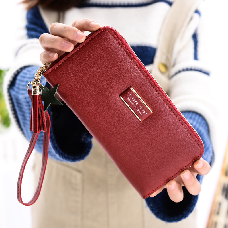 Image 4 - MONNET CAUTHY New Female Wallets Fashion Concise Large Capacity Multi card Slot Cell Phone Pocket Solid Color Green Long WalletWallets   -