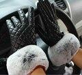 Brand Genuine leather gloves for women Fashion Luvas de inverno Guantes Ladies Sheepskin gloves Rabbit fur Winter mittens