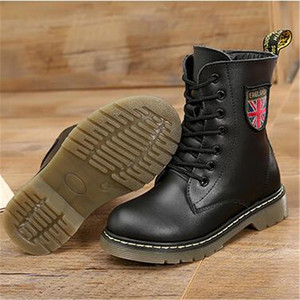 Image 4 - Girls Boys Ankle Boots Spring 2020 Genuine Leather Military Booties Black Non slip British Kids  Boots Zipper Unisex Shoe