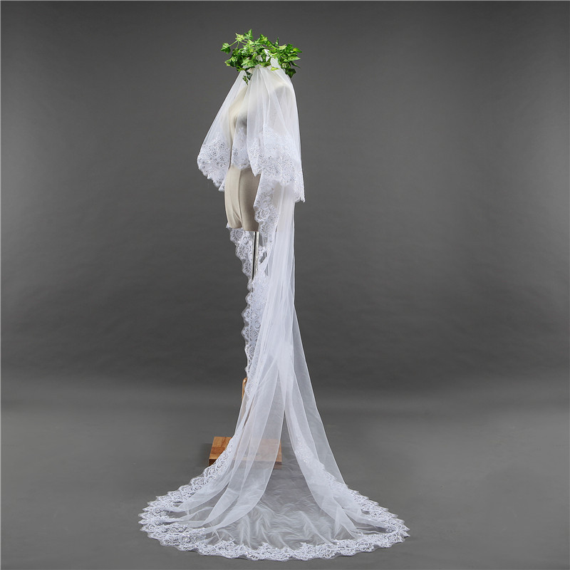 3 Meters Two Layers Lace Edge With Comb Long Wedding Veil Cathedral Bridal Veils White Ivory Wedding Accessories Soiree