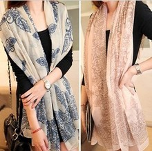 2013 autumn winter wholesale latest fashion models women necessary classic chiffon blue floral design scarves free shipping