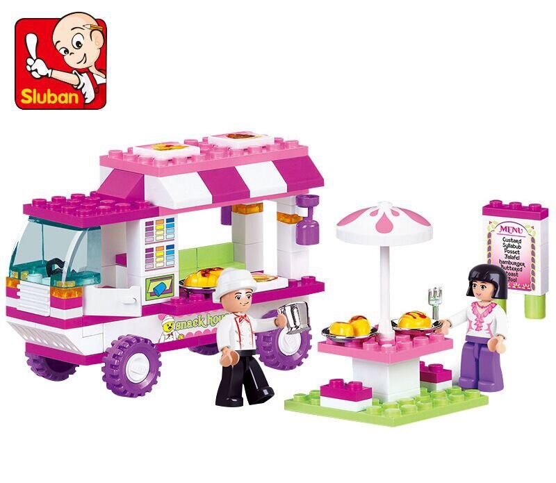 New Original Sluban Building Blocks City House Snack Car Brick Toy Compatible Legoe