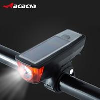 ACACIA Solar Powered Bicycle Light Bells USB Charging Bike Front Lamp 350 Lumen 4 Modes Waterproof