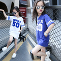 Kids Girls Long T-shirts Top Summer 2016 New Letter Printed T-shirt Dress for Girls Sprots Wear Dress Casual Clothes White Blue