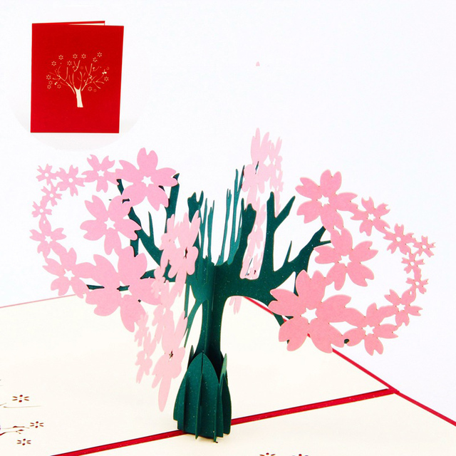 3d laser cut handmade carving cherry blossom tree paper invitation 3d laser cut handmade carving cherry blossom tree paper invitation greeting cards postcard valentines day wedding stopboris Image collections