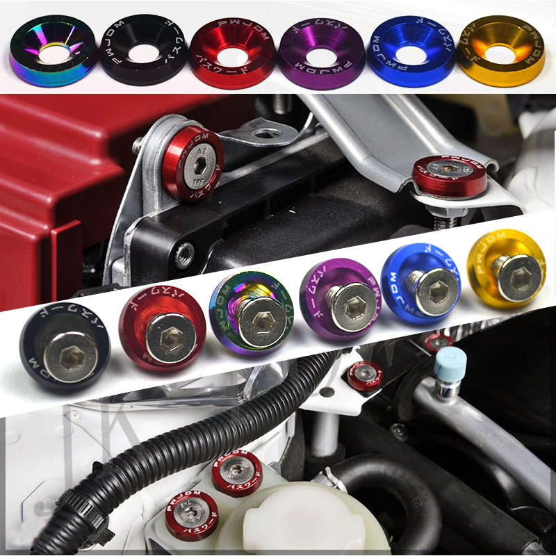 10PCS M6 Car Styling Universal Modification JDM Sticker Stickers Password Fender Washer License Plate Bolts Auto Accessories