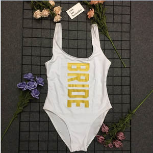 b8fb5ef149 Women High Waist Bathing Suit Swimwear 2018 Summer Sexy Thong BRIDE Gold  Letter One