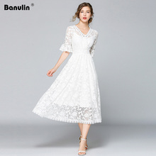 Banulin Spring Summer Fashion Designer Runway Flare Sleeve V-Neck Long Maxi Dress Women Robe Femme Vestidos B9011