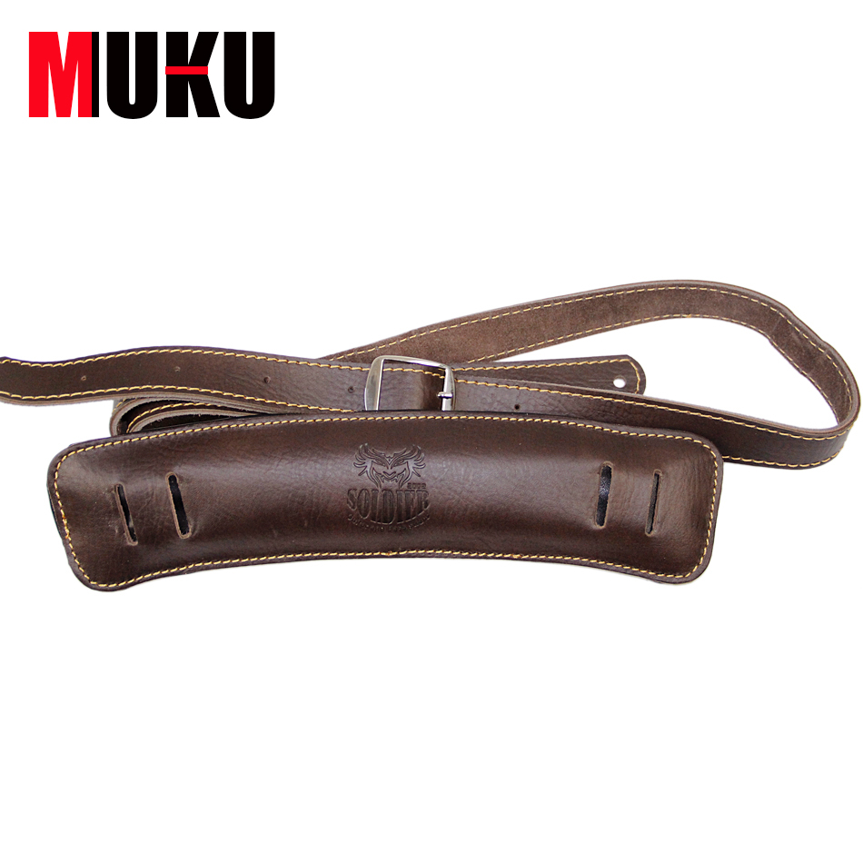 Soldier Acoustic Folk & Classical Guitar Straps Dark Brown Shoulder Padding Genuine Leather Rockabilly Bass Belt up to 61 long electric guitar pu leather belt straps acoustic guitar bass strap stamping imitation snakeskin stone texture straps