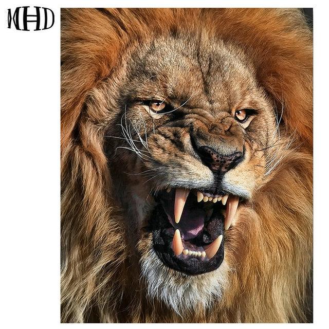 MHD diy full round diamond embroidery fierce lion 3D ...