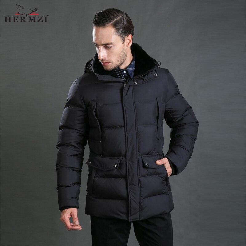 HERMZI 2017 New Winter Jackets Men Padded Jacket Coat Cotton Black Winter Coat Rex Rabbit Fur Collar European Size Free Shipping