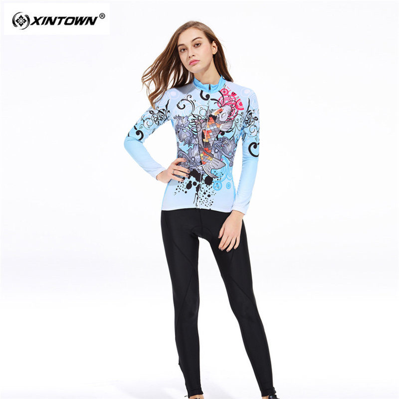 XINTOWN Sweat Long Sleeve font b Cycling b font font b Jersey b font Set MTB
