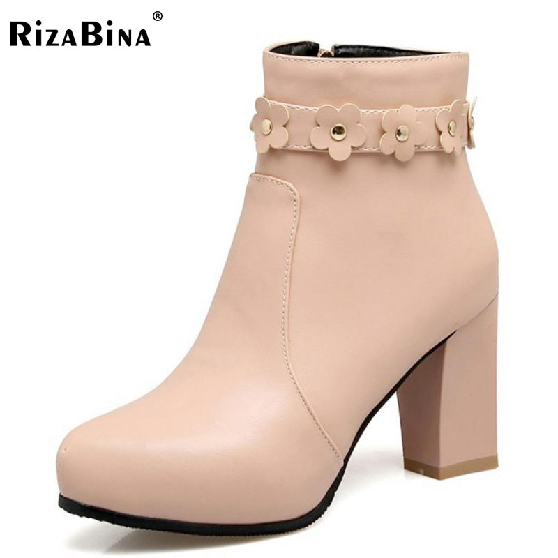 RizaBina Size 34-43 Office Lady High Heel Boots Women Zipper Flower Round Toe Thick Heel Boot Party Club Fashion Female Footwear vinlle women boot square low heel pu leather rivets zipper solid ankle boots western style round lady motorcycle boot size 34 43