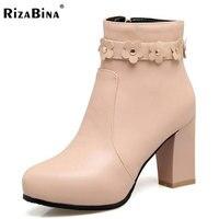 RizaBina Size 34 43 Office Lady High Heel Boots Women Zipper Flower Round Toe Thick Heel