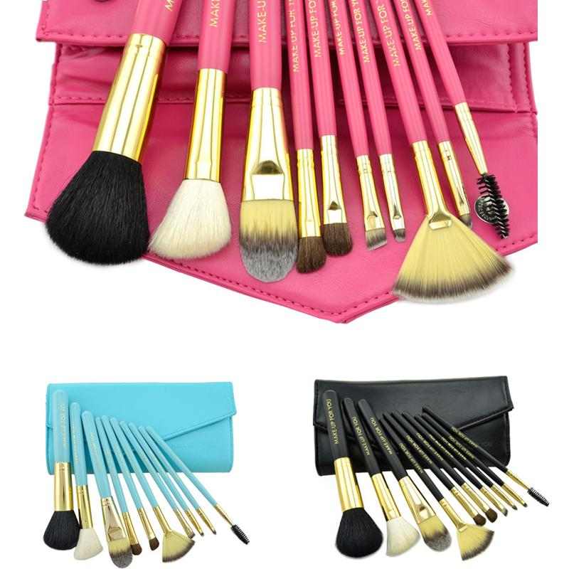 Professional 10pcs/set Makeup Brushes Set Kit Foundation Powder Eyeliner Lip Beauty Tool Powder Brush With Leather Case RP2 high quality 18pcs set cosmetic makeup brush foundation powder eyeliner professional brushes tool with roll up leather case