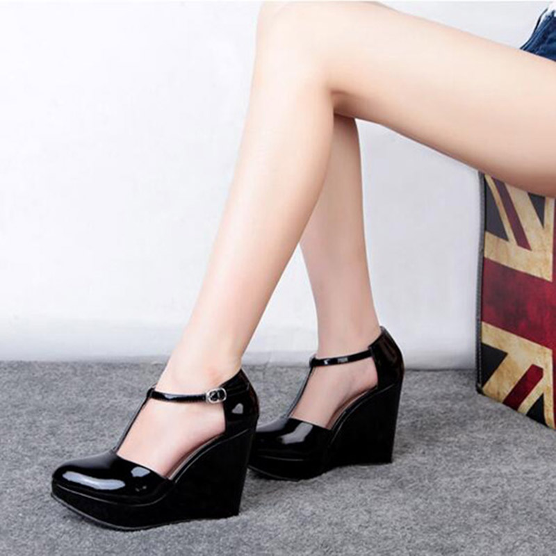Hasp Hot Selling Funky Womens Black Wedge Single Shoes Wedges Platforms High Heels Pigskin Sexy font