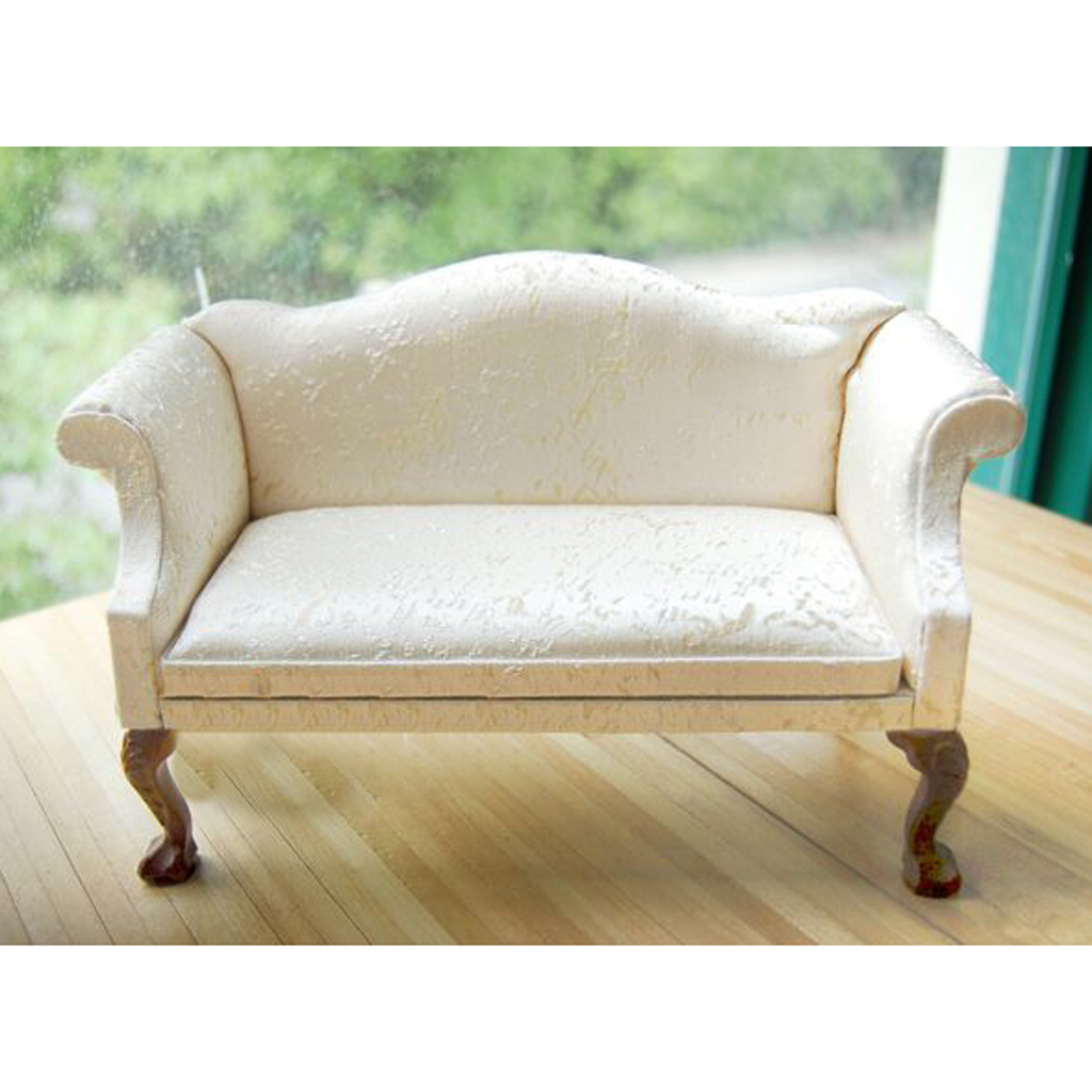 White Double Sofa Couch Chair for 1/6 Hot Toys Blythe Barbie Dollhouse Furniture Accessories