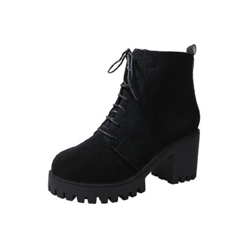 2018 new short tube autumn and winter women's boot thick with high-heeled solid color round head fashion casual warm boots wome 3