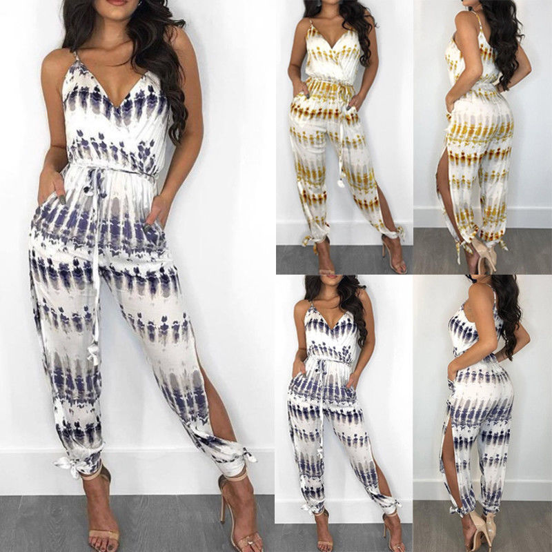 2020 Brand New Fashion Women Ladies V Neck Summer Playsuit Party Jumpsuit Romper Clubwear Lace Up Print Bodysuits