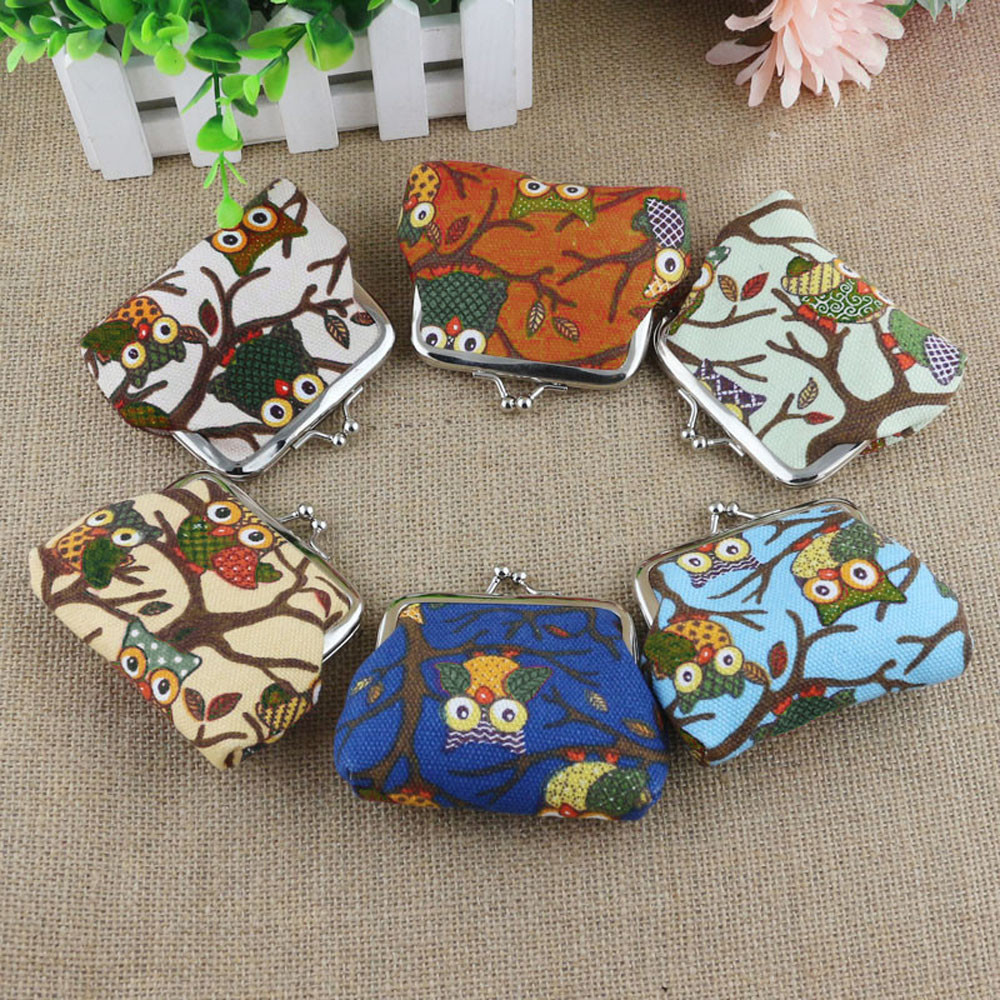 Fashion Women Lovely Style Coin Purse Lady Hasp Small Wallet Printing Owl Purse Clutch Bag sac a main femme *00