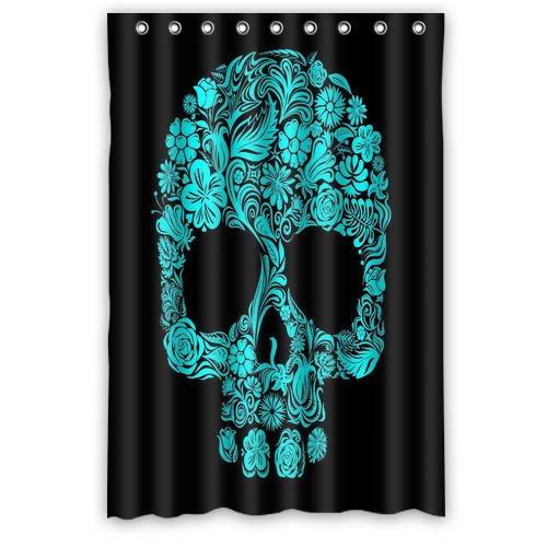 Custom Popular Flowers Sugar Skull Shower Curtain 48x72 Curtains Bathroom Decor On Sale
