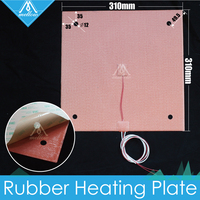 USA Material!Silicone Heater Pad 310x310mm for Creality CR10 3D Printer Heated Bed w/Screw Holes, Adhesive Backing & Sensor